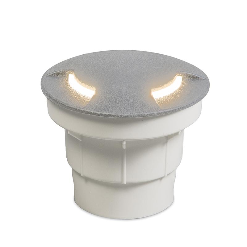 Moderne ronde buitengrondspot grijs met indirect licht - Ceci