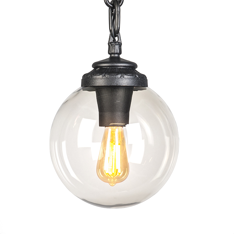 Moderne Ronde Buitenhanglamp Zwart Met Bol - Sichem
