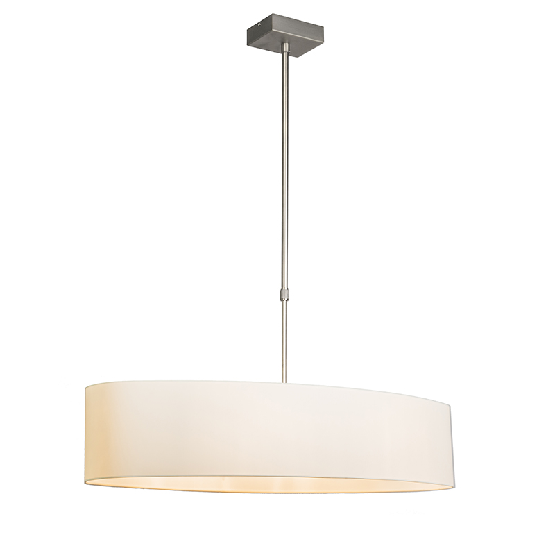 Image of Hanglamp Mix 2 staal met ovale kap creme wit