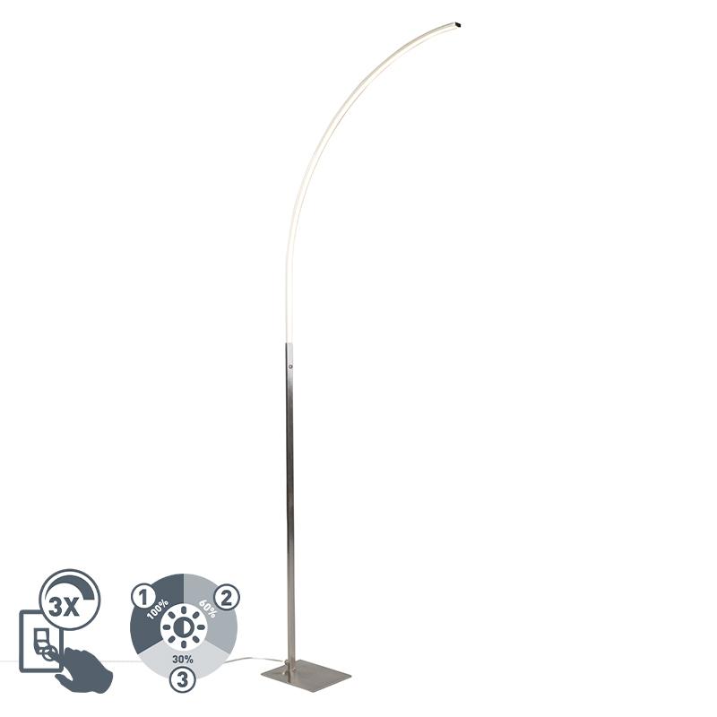 Nowoczesna lampa stojąca ze stali, w tym LED i 3-stopniowy ściemniacz - stylowy