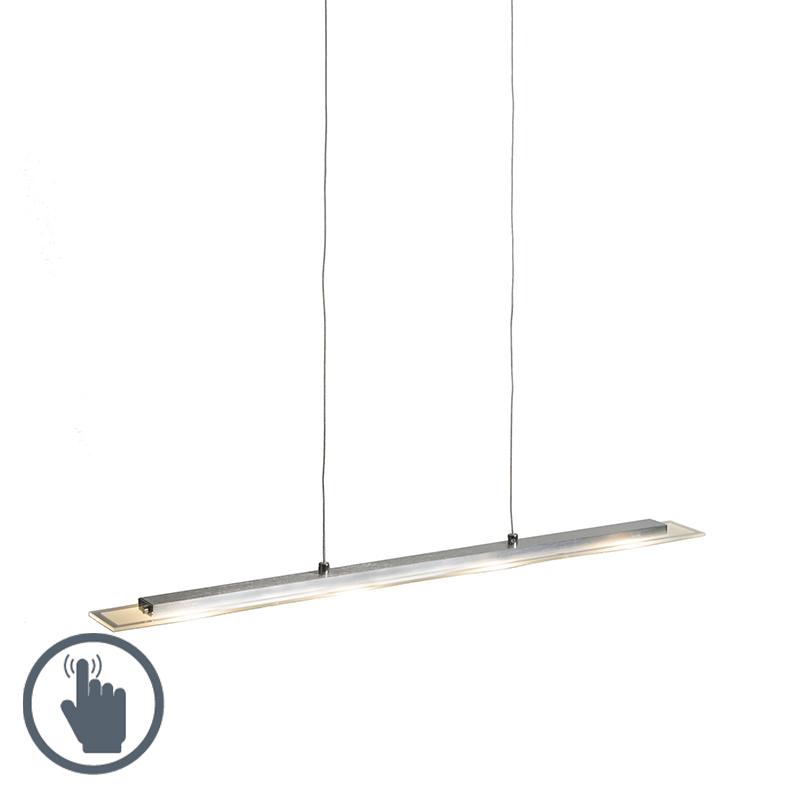 Hanglamp Platina staal met glasplaat incl. LED met dimmer