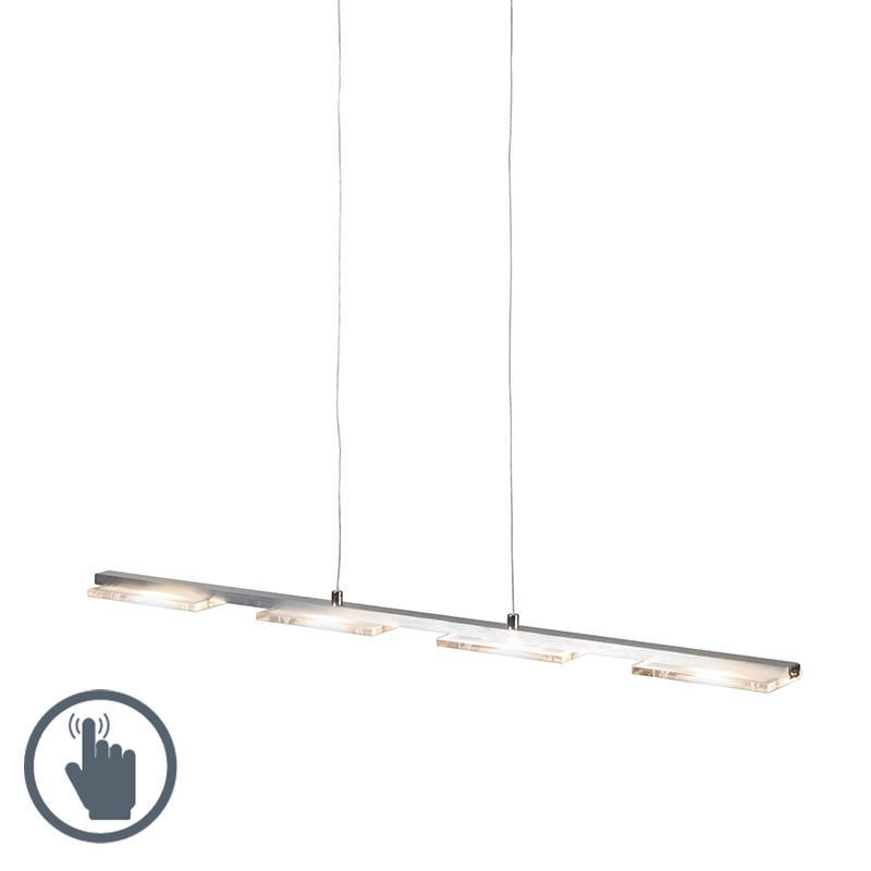 Hanglamp Vitro staal met glasplaat incl. LED met dimmer