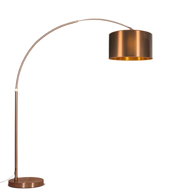 Moderne booglamp koper met koperen kap - Booglamp XXL