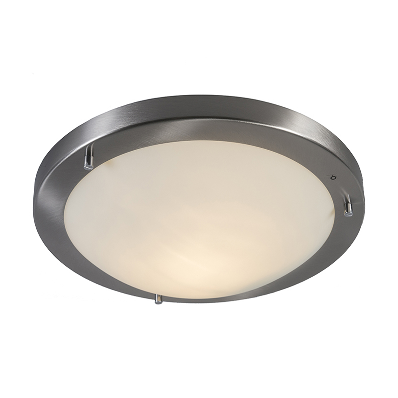 Moderne Ronde Plafonnière 31cm Ip44 Staal - Yuma