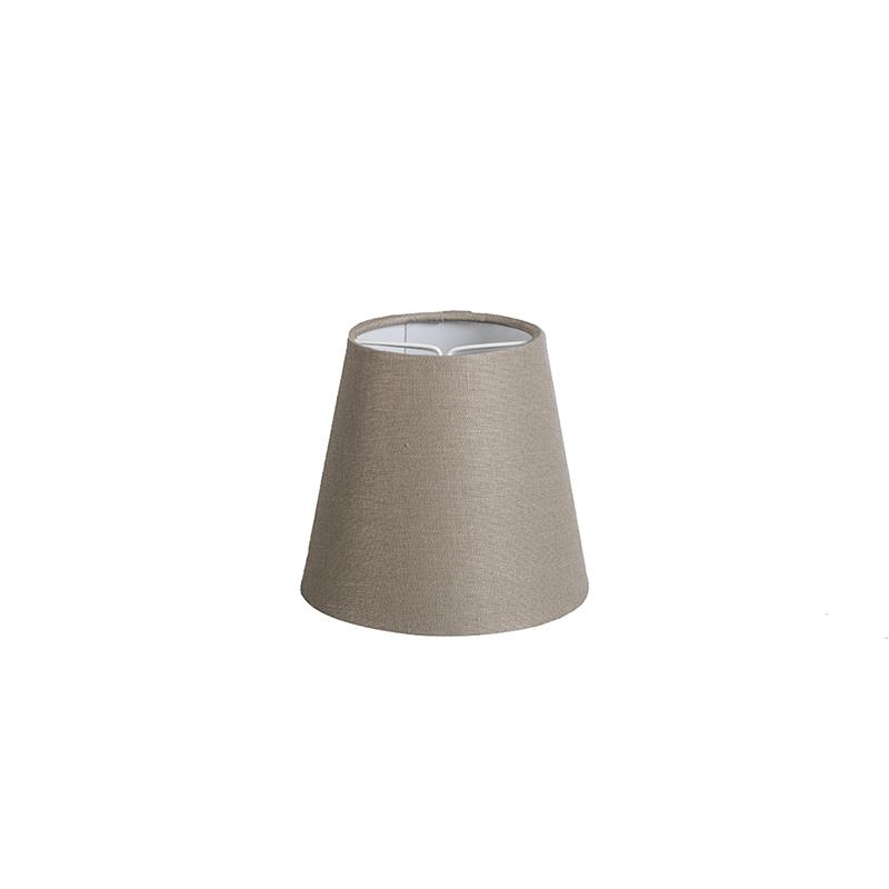 Klosz lniany zaciskowy szarobrązowy 12cm okrągły