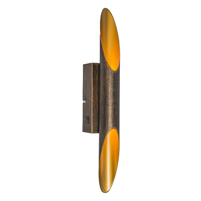 Art deco wandlamp roestbruin incl. LED - Organ