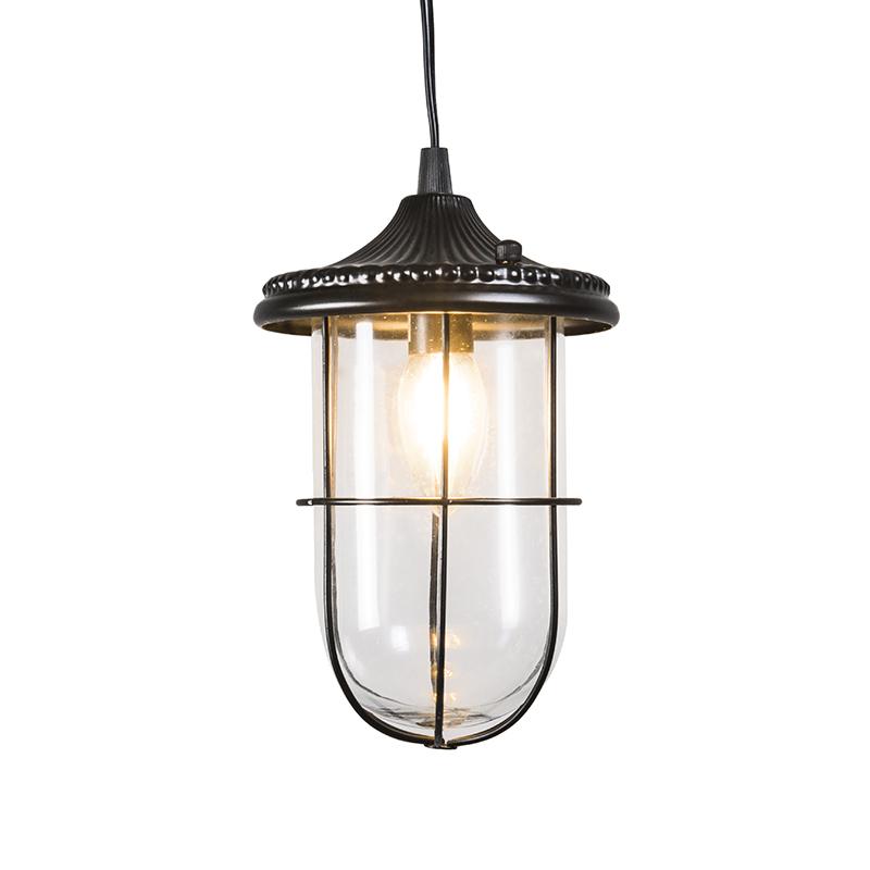 Vintage lampa wisząca czarna ze szkłem - Porto