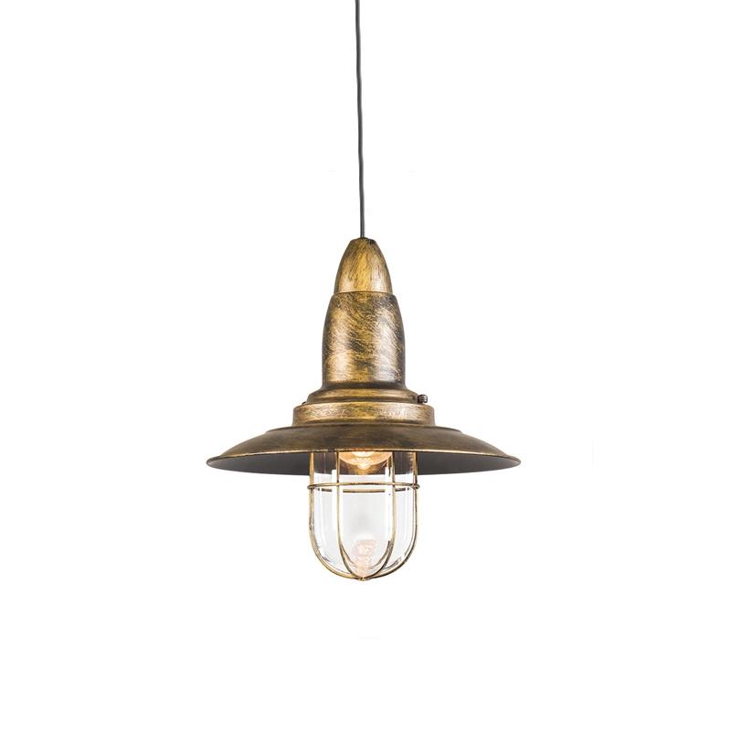 Vintage okrągła lampa wisząca brąz ze szkłem - Pescador
