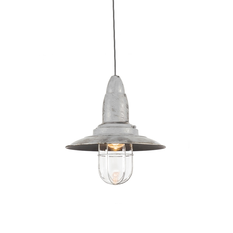 Vintage lampa wisząca stara biała ze szkłem - Pescador
