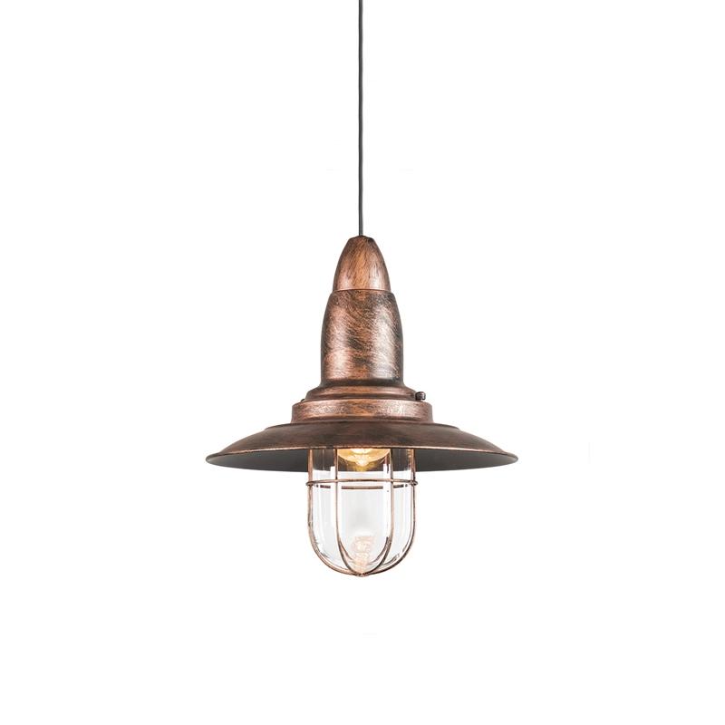 Vintage hanglamp roest met glas - Pescador