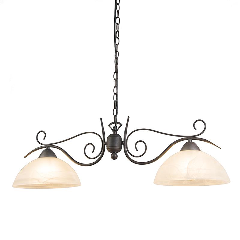 Landelijke hanglamp roestbruin met glas - Dallas 2