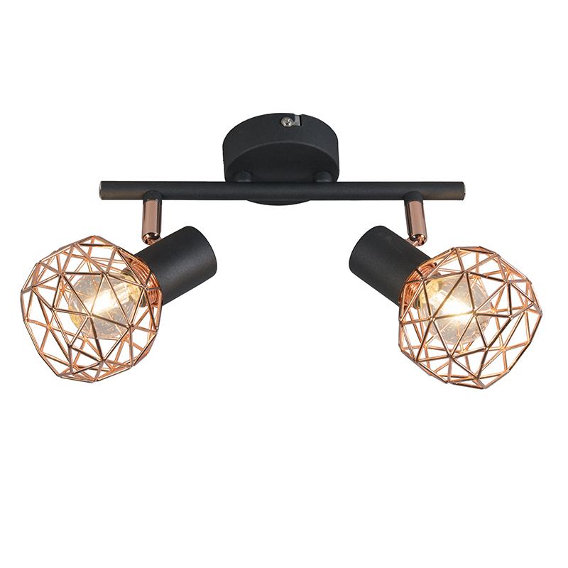 Nowoczesny punktowy czarny z miedzianymi 2-lampkami - Siatka
