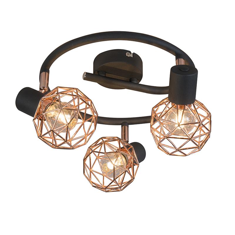 Nowoczesna czarna plamka z miedzianymi 3-lampkami - Siatka
