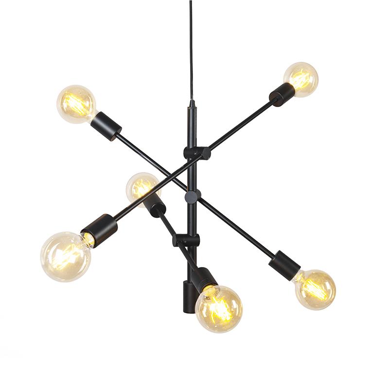 Industriële hanglamp zwart 6-lichts - Sydney