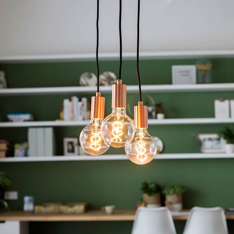 Art deco hanglamp koper - Facil 3