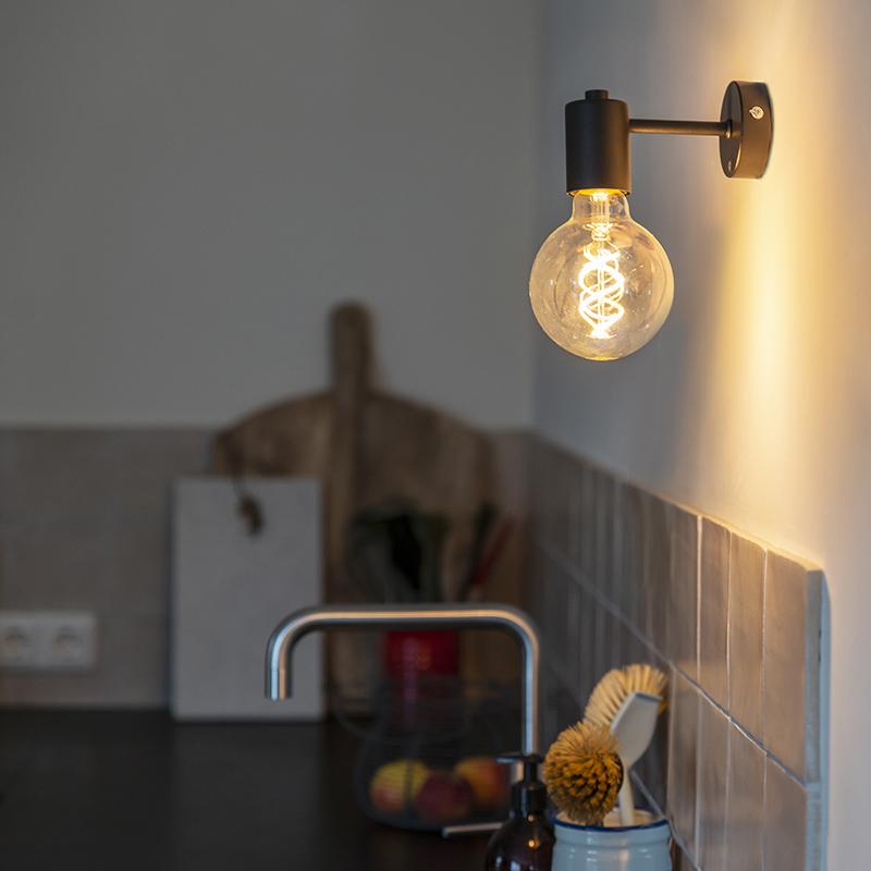 Industri�le wandlamp zwart - Facil 1