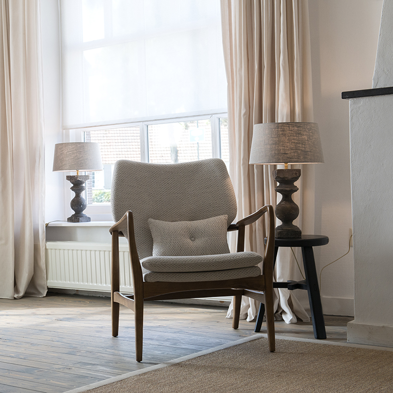 Tafellamp Rik S bruin met kap 35cm linnen naturel