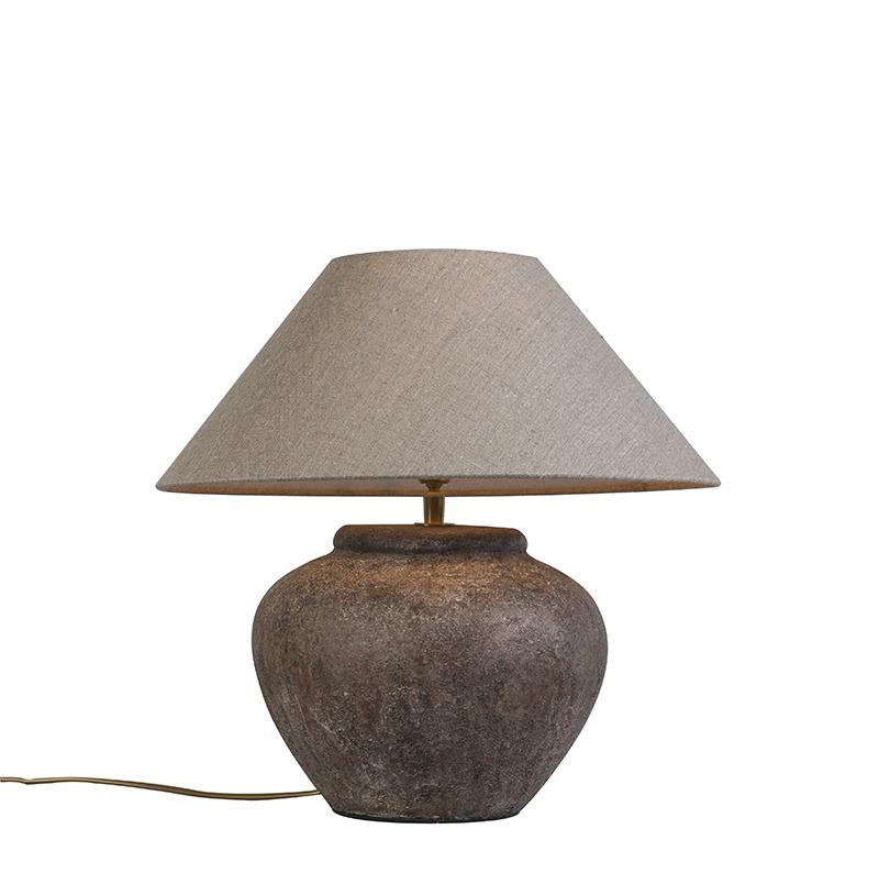 Tafellamp Palma XS Vintage met kap 40cm linnen naturel