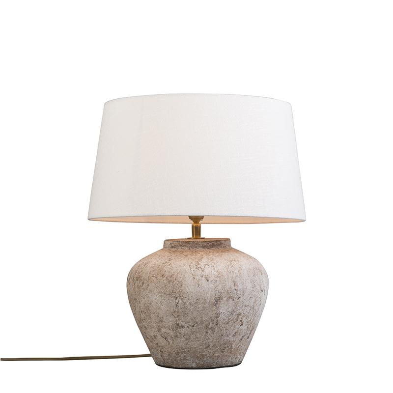 Tafellamp Inca XS Scotch met kap 35cm linnen wit