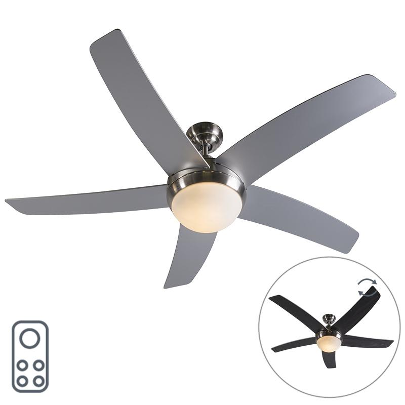 Plafondventilator staal met afstandsbediening - Cool 52