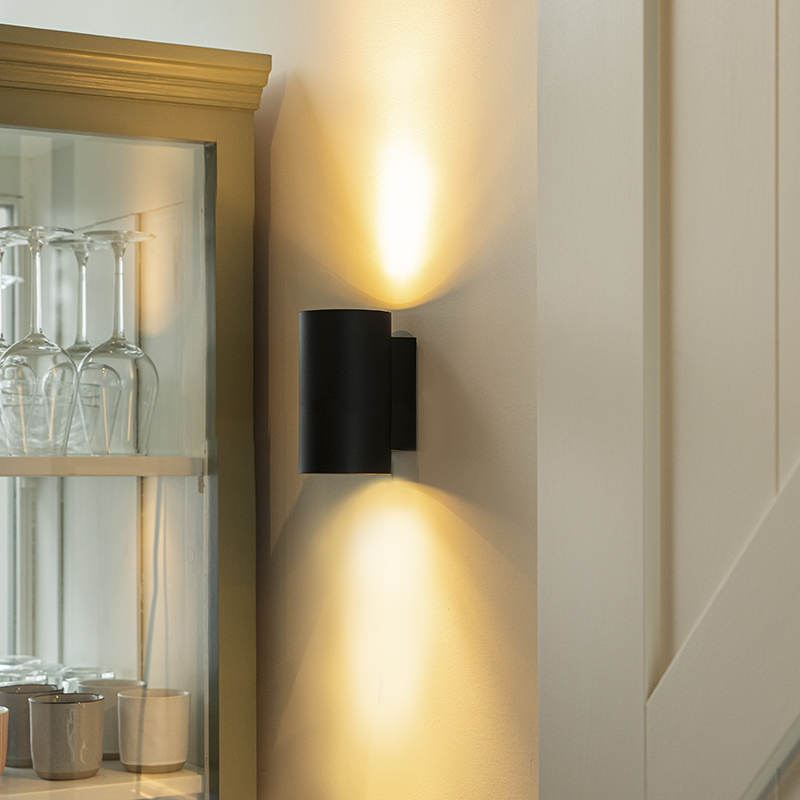 Moderne wandlamp rond zwart - Sandy