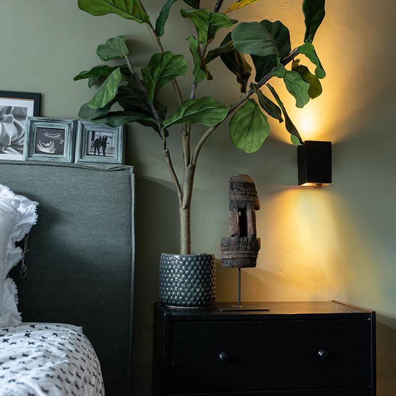 Moderne wandlamp zwart vierkant - Sandy