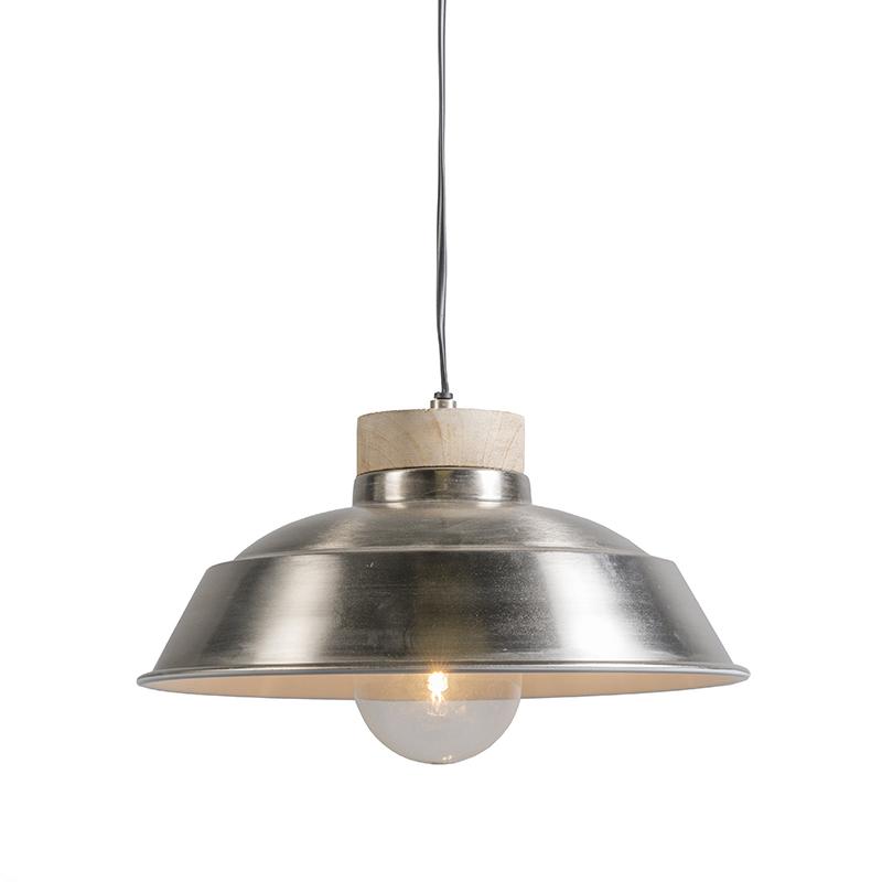 Hanglamp Maeko nikkel met hout