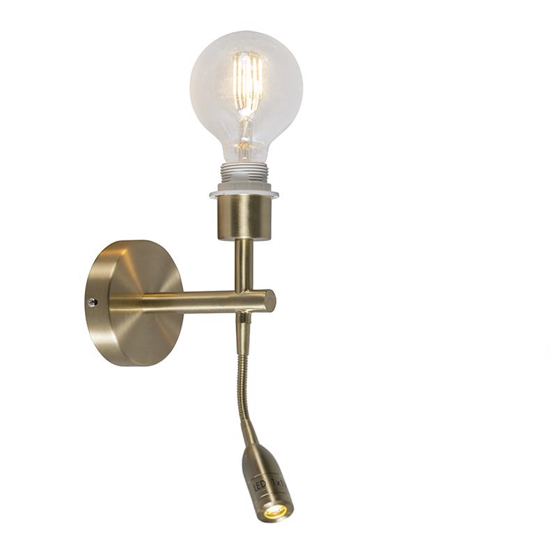 Wandlamp Combi 1 LED leeslamp goud zonder kap