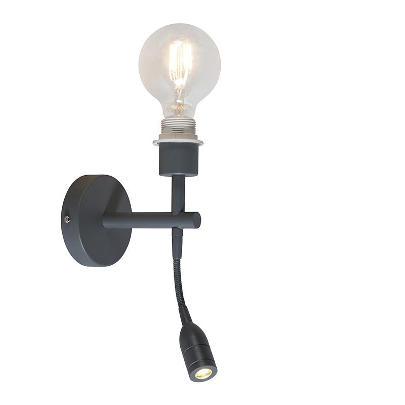 Wandlamp Combi 1 LED leeslamp donkergrijs zonder kap