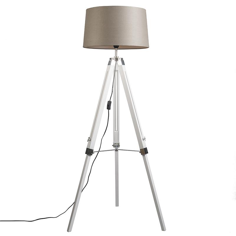 Vloerlamp Tripod wit met kap 45cm linnen taupe