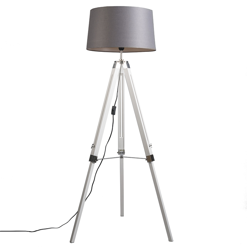 Industriële vloerlamp wit met grijze linnen kap - Tripod