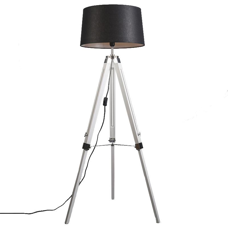 Industriële vloerlamp wit met zwarte linnen kap - Tripod
