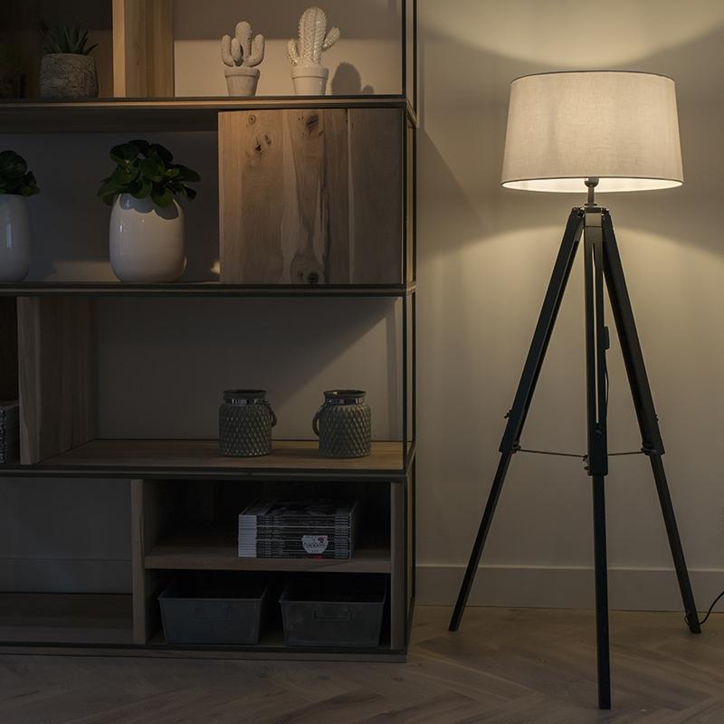 Vloerlamp Tripod zwart met kap 45cm linnen wit
