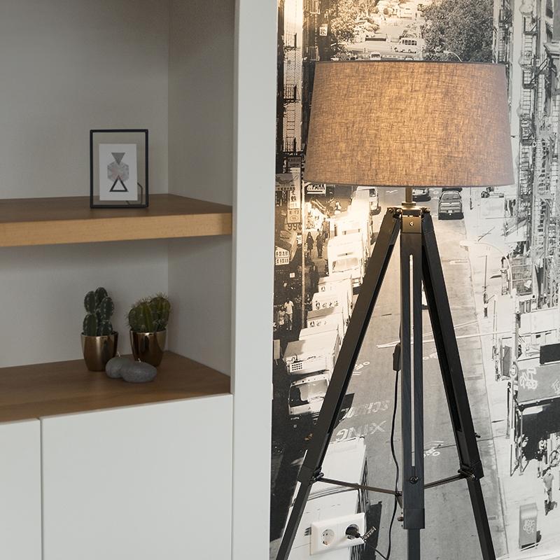 Vloerlamp Tripod zwart met kap 45cm linnen donker grijs