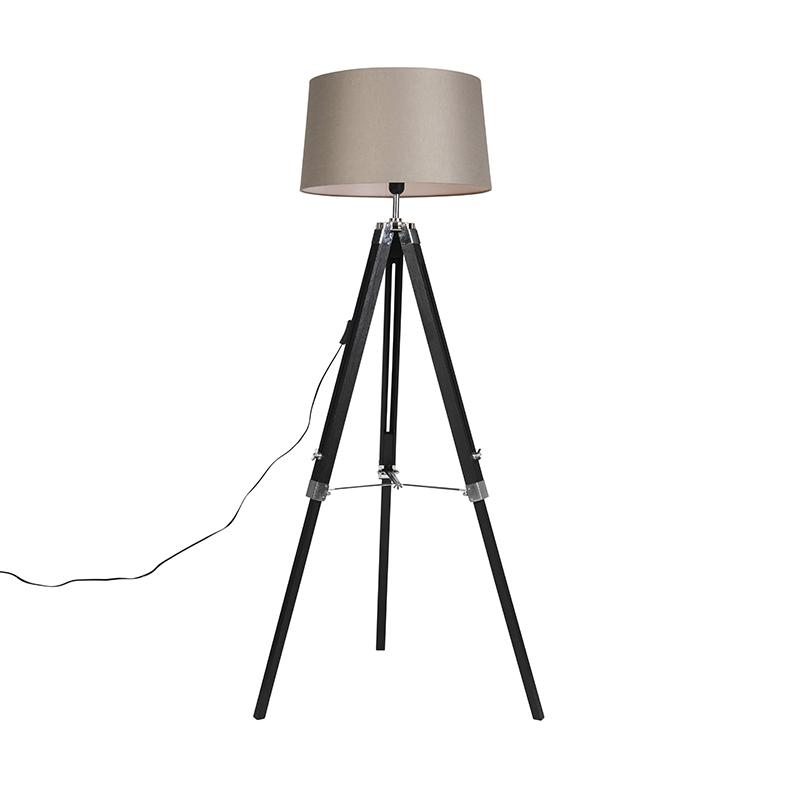 Vloerlamp zwart met taupe linnen kap 45 cm - Tripod