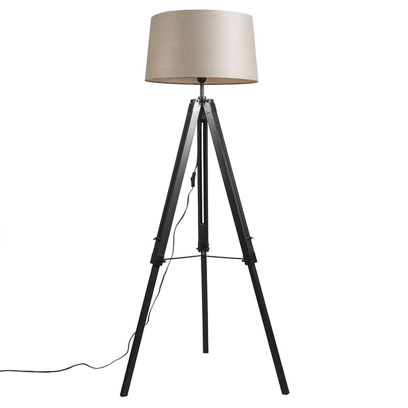Vloerlamp Tripod zwart met kap 45cm linnen taupe