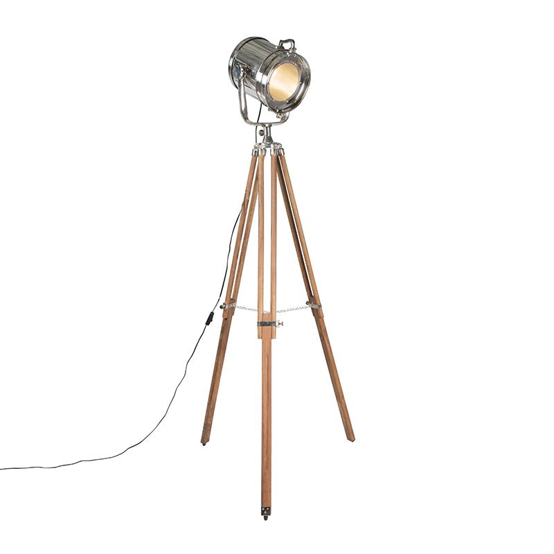 Vloerlamp Tripod Construct chroom met hout