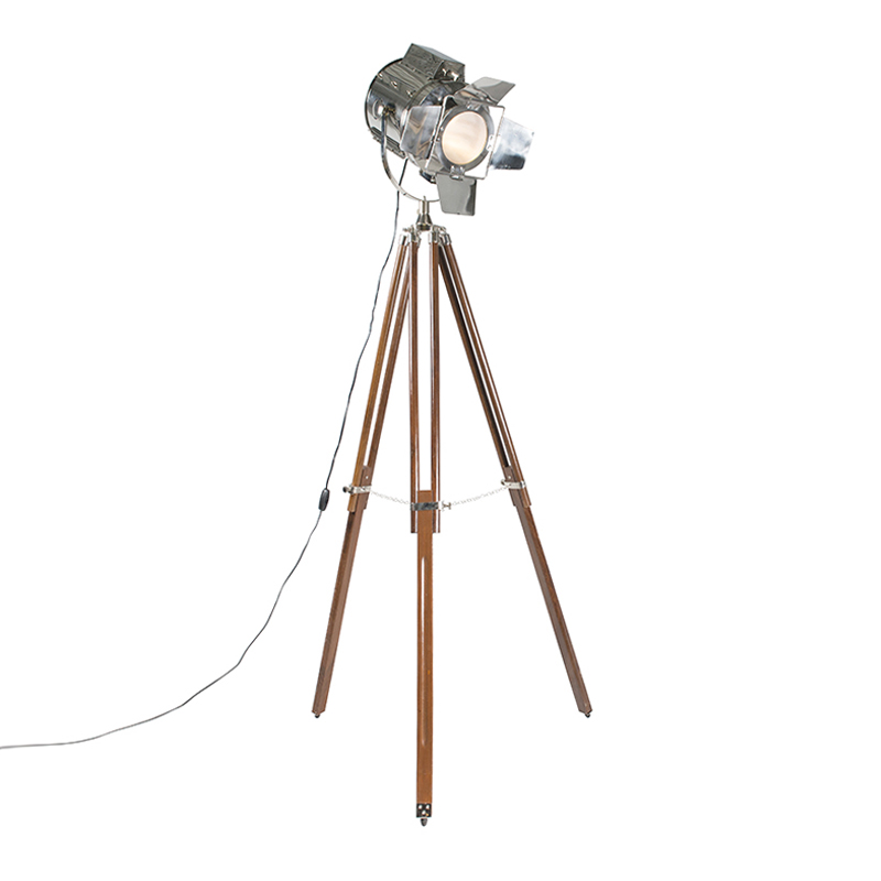 Vloerlamp Tripod Studio bruin met chroom