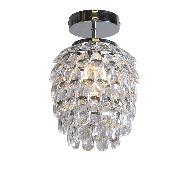 Art deco plafondlamp staal 19 cm dimbaar - Bling
