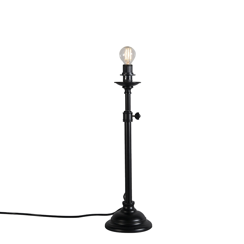 Klasyczna lampa stołowa czarna regulowana bez klosza - Accia