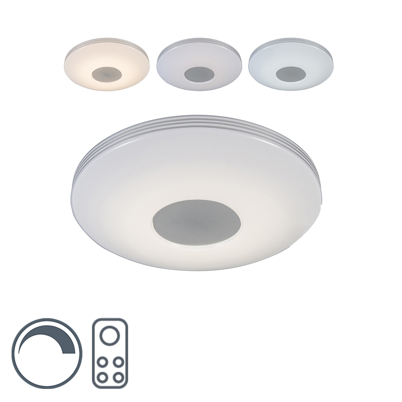 Moderne plafondlamp wit LED met afstandsbediening - Trezetto