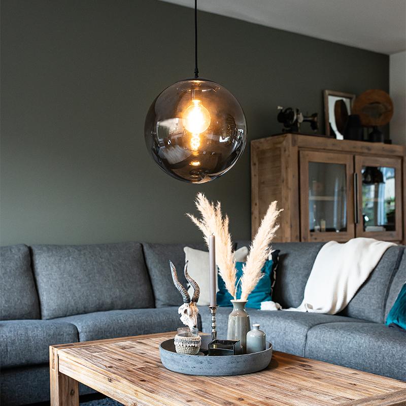 Art Deco hanglamp grijs 35 cm - Pallon
