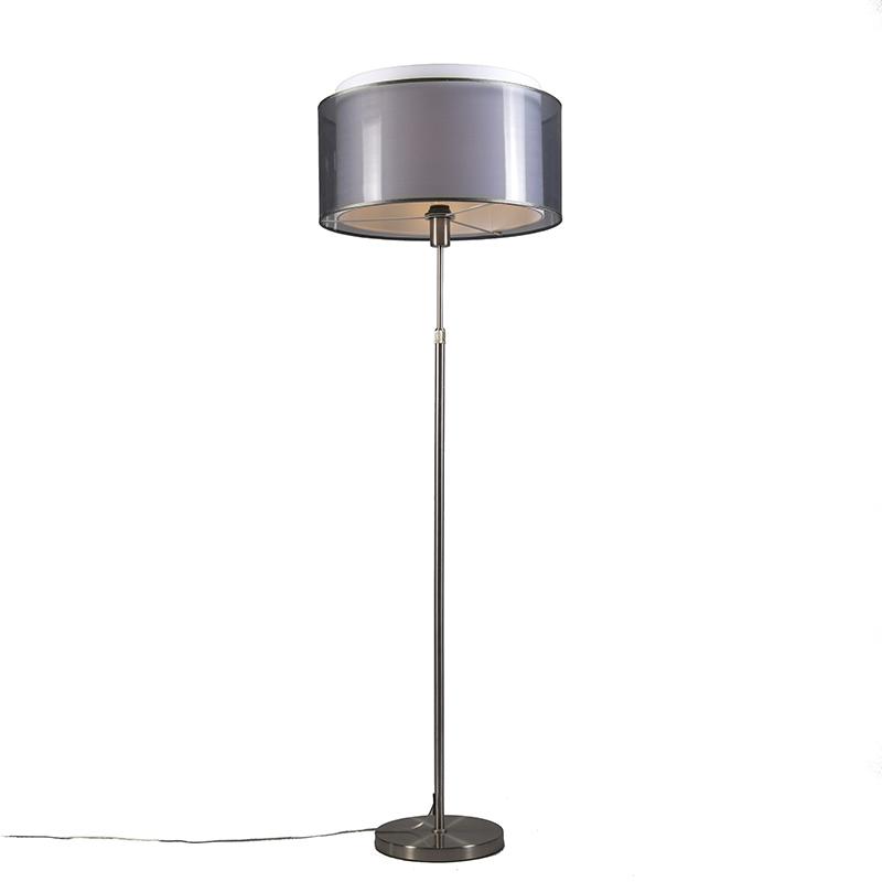 Lampa podłogowa regulowana stal klosz czarno-biały 47cm - Parte