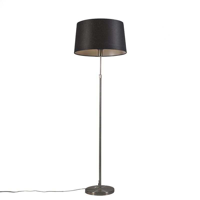 Vloerlamp staal met kap zwart 45 cm verstelbaar - Parte