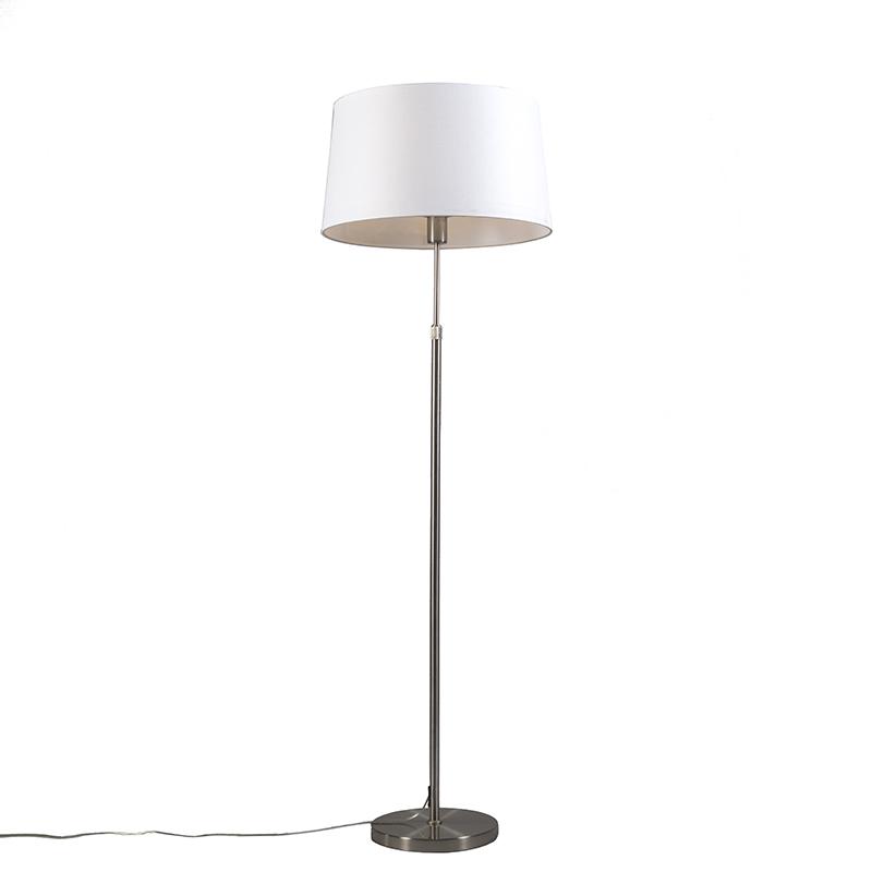 Lampa podłogowa regulowana stal klosz biały 45cm - Parte