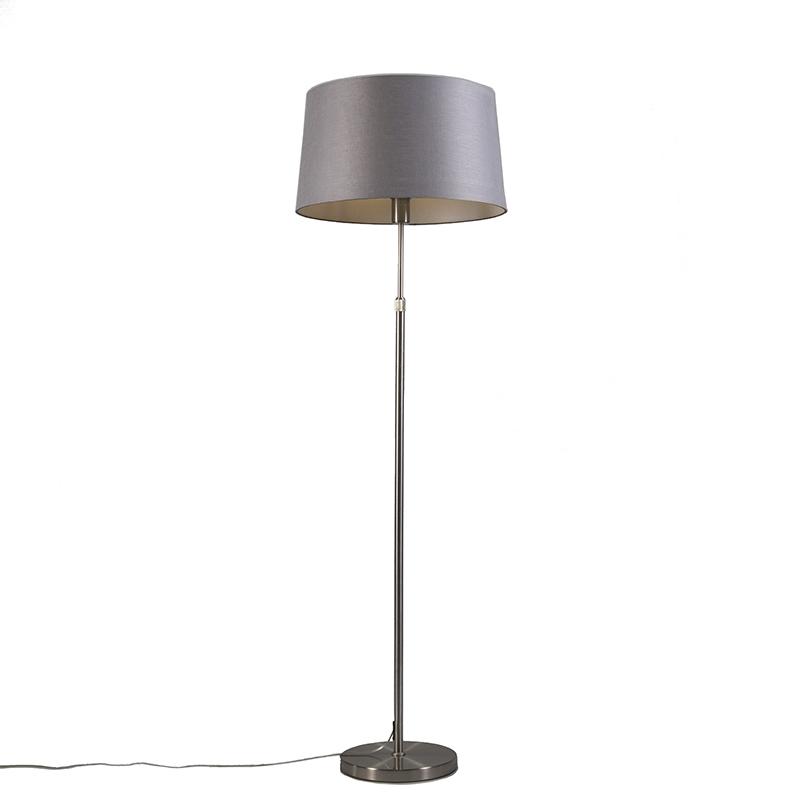 Gulvlampe stål med skygge grå 45 cm justerbar - Parte