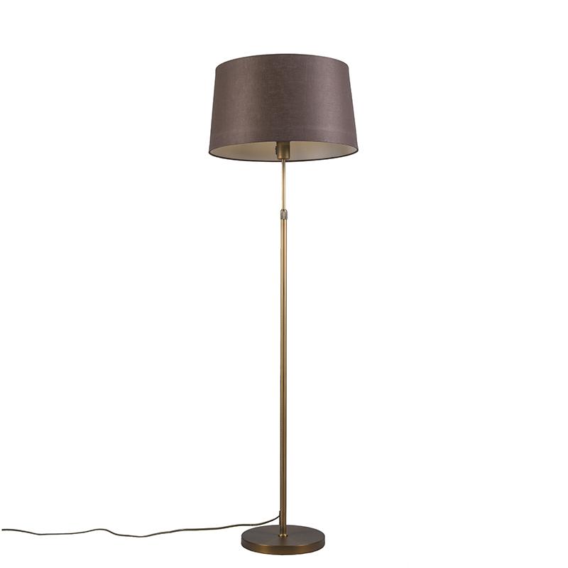 Vloerlamp brons met bruine kap 45 cm verstelbaar - Parte