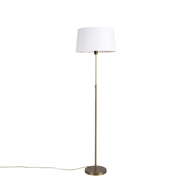 Vloerlamp brons met linnen kap wit 45 cm verstelbaar - Parte