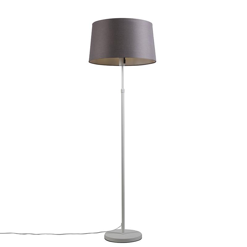 Vloerlamp Parte wit met grijs-bruine kap