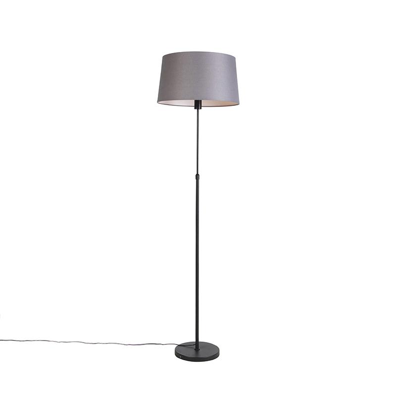 Zwarte vloerlamp met linnen kap donkergrijs 45cm - Parte